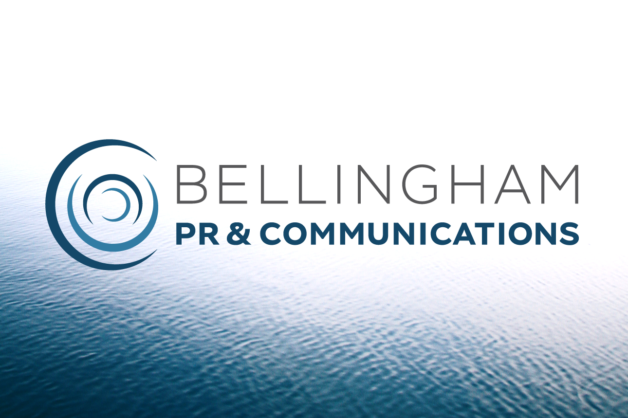 Bellingham PR & Communications logo over water background